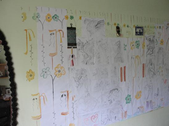 My Art Wall Complete - Left side (31st March 2010)