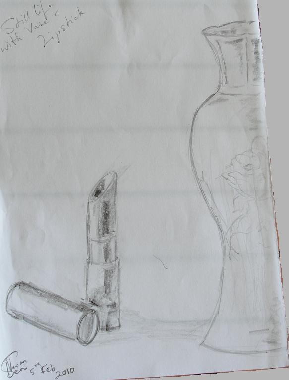 Still Life - Vase and Lipstick (Feb 2010)