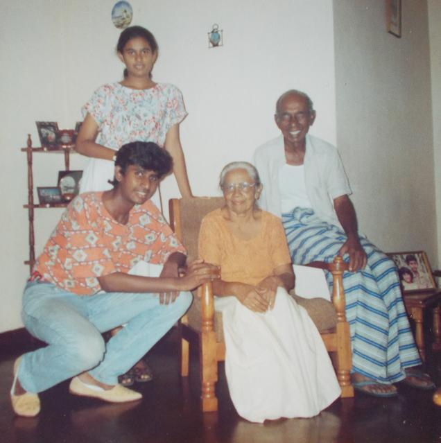 Atta & Attammi, my sister & I, at Home (56, Siripura). Picture taken on my 20th B'day (22nd June 1995)