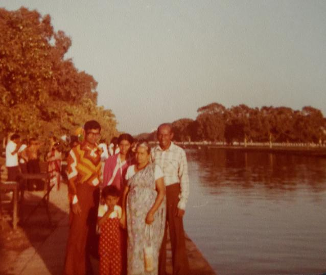 My maternal Grandparents Second trip to India. Atta & Attammi, my parents & I, in New Delhi, India, in 1978.