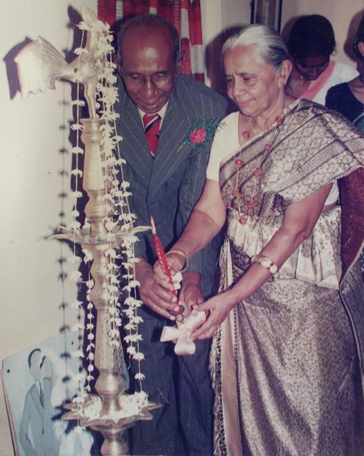 Golden Jubilee Atta & Attammi celebrate their 50th Wedding Anniversary (JULY 1997) On the floor, left side of the photograph, is a painting I did & gifted my grandparents with. 50 years of marital bliss ( a rarity today).