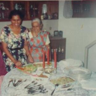 Mum & Attammi, at a dinner party (at our place, 56, Siripura), hosting Sachi's completion of her A/levels (4th July 1998).