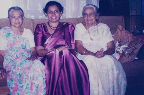 At my mum's 50th B'day Celebration (L to R) My Great Aunt (Attammi's younger sister), Ammi (my mother), and Attammi (my maternal Grand-mum).  MAY 1999