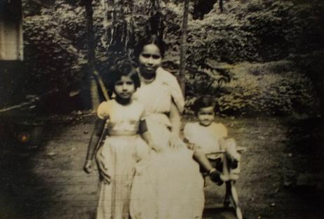 Attammi with her two eldest children (my mum & her sister), in the early 50's.