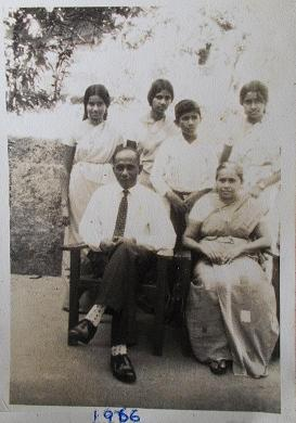 Atta & Attammi, with all four of their children, in Kegalle.  My mum being the eldest, is seen standing in the middle in the back row, flanked by her two younger sisters, and her younger brother (the youngest in the family), standing in front of my mum.