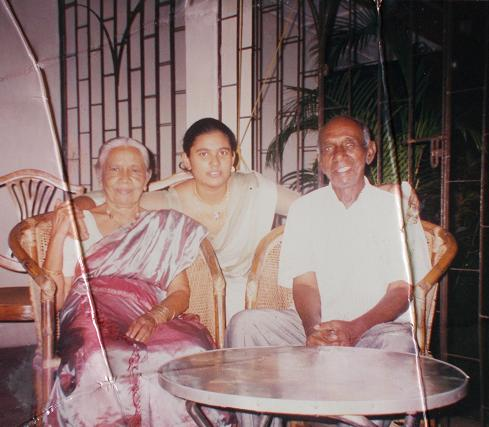 On my sister (Sachi's) 21st Birthday celebration. Atta & Attammi, with their eldest, now 21 year old) Granddaughter (October 2001)