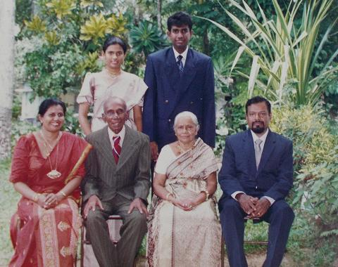 Golden Jubilee Atta & Attammi, with their eldest daughter's family. Seated My mother, My Grandfather, My Grandmother, and My father. Standing: My Sister & I This was the first time, Sachi (aged 16), wore a sari. Attammi was so pleased, it touched her heart. Such a pleasant surprise to see  her eldest granddaughter, in a sari (that too in the kandyian style). JULY 1997