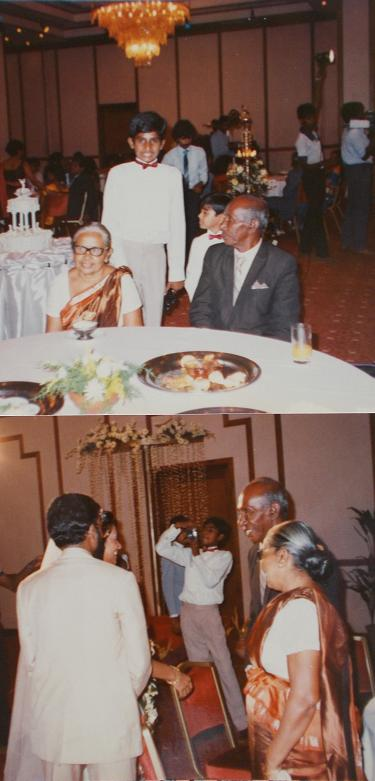 Above: An exactly, 11 years, and 11 month, old  me, with Atta & Attammi, at my Uncle's (my father's youngest brother's) wedding ceremony, on the 22nd of May, 1987 (Exactly 15 years after SL became a republic, and exactly one month prior to my 12th Birthday). This was my first holiday, without my parents, I stayed in Sri Lanka for over a month during my summer holidays. It was my worst holiday ever. I don't personally know the short kid, standing next to me, who was about the same age as me, at the time. We were both Page Boys, at the wedding, and I was also the Ring Bearer (this was the second time I was a Page Boy, the first was (aged 4) at my mother's youngest sister's wedding, in March 1980 .  Below: My maternal Grandparents, congratulating, my father's Brother and his new Bride. The professional cameraman afar, is the 11 years, 11 months, old me, with my first very own camera. I loved that camera back then.