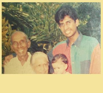 YEAR: 1994 Atta & Attammi, with their eldest grandchild/grandson (Me, aged 19, on holiday in SL), and their youngest grandchild/granddaughter (aged One).