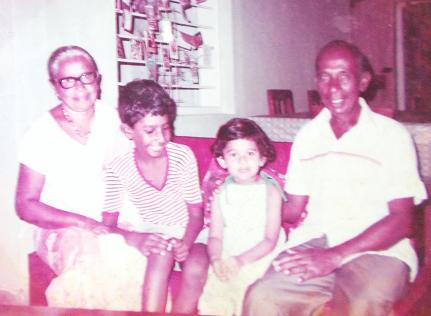 My Sister, Sachi, & I, on holiday in Sri Lanka. With my grandparent at their new home, in Veyangoda (Early 80's).
