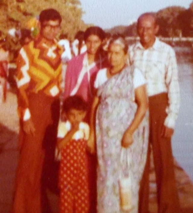 My Grandparents, parents & me (aged three), in New Delhi, India (when Atta & attammi came there for a holiday), in 1978.