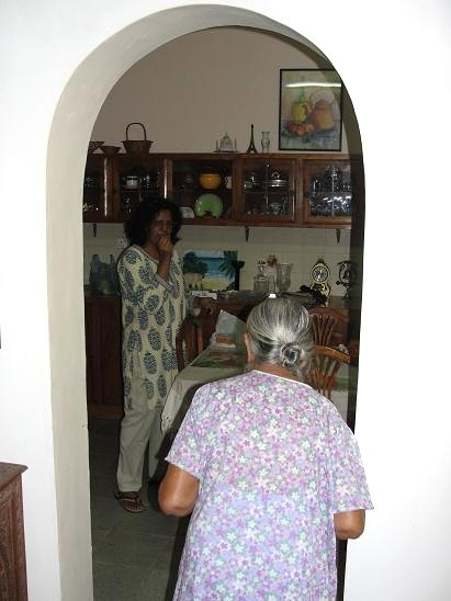 My Grandmother (with her back turned), with her daughter (my mom), at her daughter's (@ 56, Siripura). OCTOBER 2010