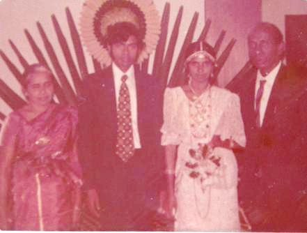 The Proud Parents, now turn In-Laws. My (maternal) Grandparents @ my parents wedding, in Kegalle (10th December 1973)