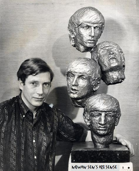 David Wynne in 1964 with his sculpture of The Beatles