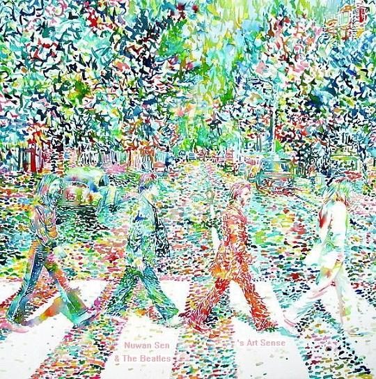 The Beatles (Abbey Road) watercolor by Fabrizio Cassetta
