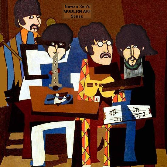The Four Musicians (Beatles) - This is a direct copy of The Three Musicians by Pablo Picasso