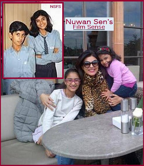 Sen's Childhood & Children Main PIX: Sushmita Sen, with her two daughters; Renée and Alisah. Inset: Sushmita Sen in her schooldays, with her brother.